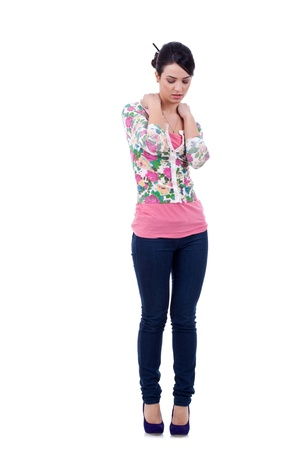 Beautiful young fashion model in casual clothing feeling lonely, white background Stock Photo - 9044398