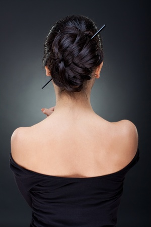 short back: Rear view of the sexy woman with beautiful hairstyle