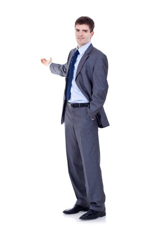 Happy business man presenting and showing with copy space for your text isolated on white background Stock Photo - 9044418