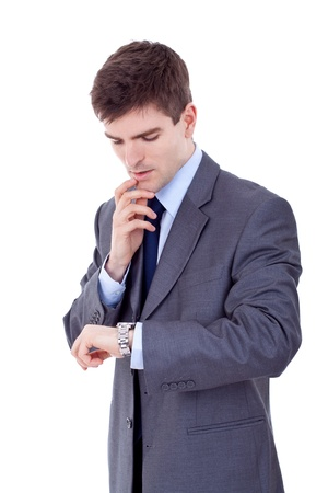 business man looking at the time and being worried, over white photo