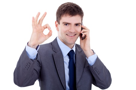 business man on the phone approving the good news, over white Stock Photo - 9076866