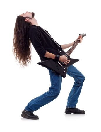musician plays the guitar. man on a white background  photo