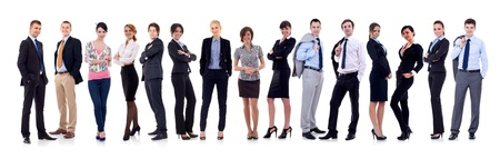 company employee: happy business team, isolated on white background