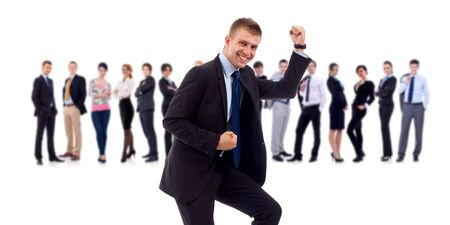 victoire: Homme d'affaires r�ussie et son �quipe isol� sur un fond blanc Banque d'images