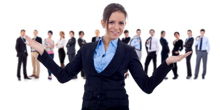 businessteamwork: Business team and their leader. The leader is making a welcome gesture. Isolated