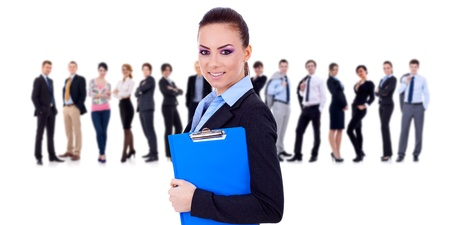happy business team: Leader holding a clipboard with business team behind, isolated Stock Photo
