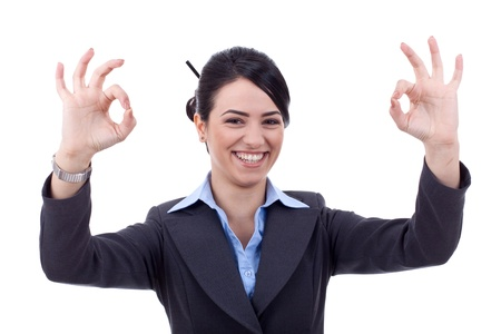 Attractive business woman satisfied with results - ok sign Stock Photo - 9248454