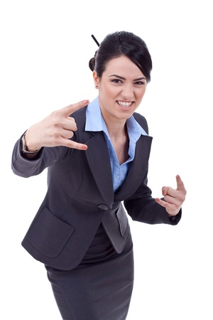business woman making a rock and roll sign over white photo