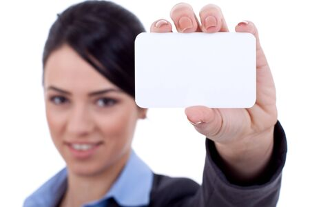 holding business card: Human hand holding white empty blank business card
