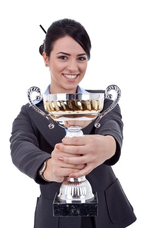 Portrait of a joyful young female entrepreneur holding a trophy against white background Stock Photo - 9248510