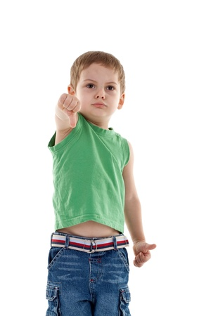 picture of a little man showing the thumb down gesture photo