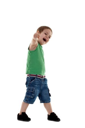 Funny boy pointing the finger a over white background  photo