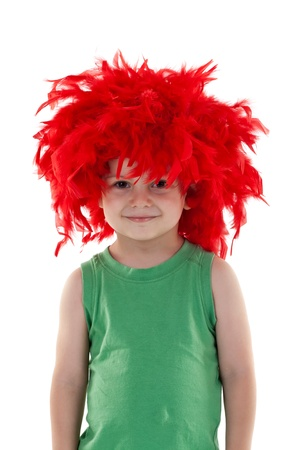 funny looking small kid wearing a red feather wig over white photo