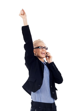 sucessful: sucessful business woman with glasses talking on the mobile phone Stock Photo