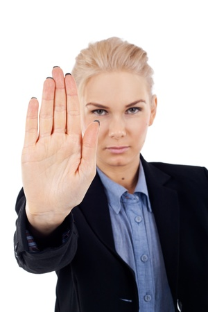 disclaim: Blonde business woman making a stop gesture, isolated Stock Photo