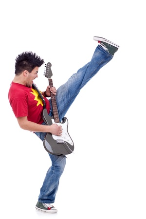 picture of a kicking guitarist playing over white background