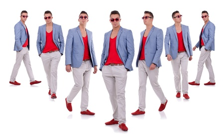 seven poses of a young fashion model on a white background photo