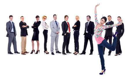 happy woman with a business team behind her, isolated Stock Photo - 9526005