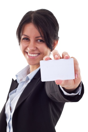 Attractive Business woman Closeup - presenting her business card Stock Photo - 9525486