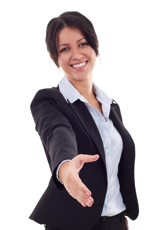 offering: Portrait of beautiful young business woman with welcome gesture isolated over white background