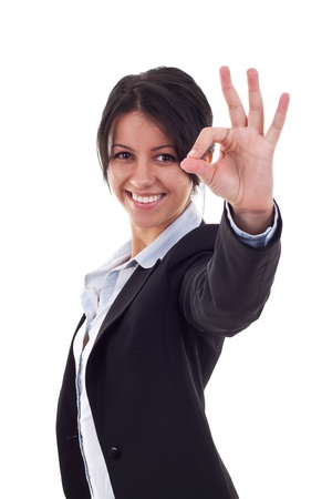 Attractive business woman satisfied with results - ok sign  Stock Photo - 9525532