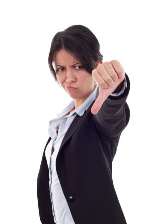 disapproving: Young business woman gesturing thumbs down over white
