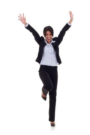 springende mensen: beeld van een zeer gelukkig zakelijke vrouw te winnen over wit