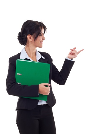 presenter: beautiful young confident business woman holding a folder and making presentation isolated