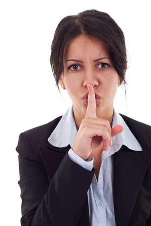 bright picture of business woman with finger on lips  photo
