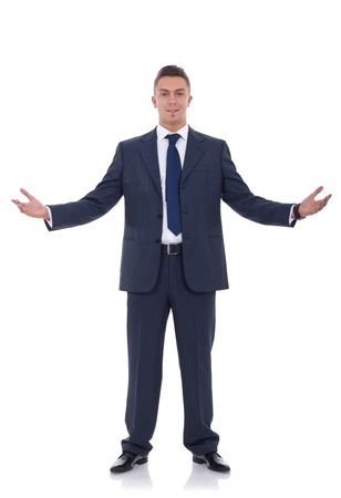wide screen: Approachable young business man with open arms isolated  Stock Photo