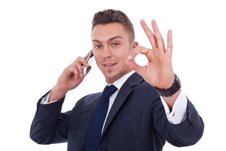 businessman on the phone approving the good news Stock Photo - 9525666