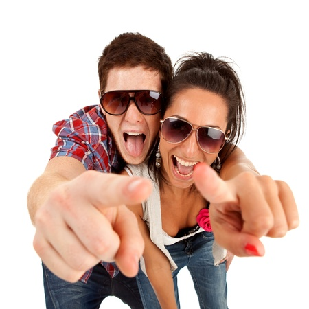 picture of a young couple pointing to you and screaming photo