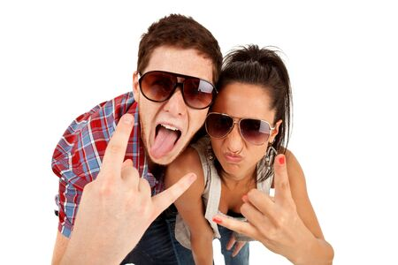 party couple screaming against a white background  photo