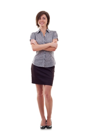 attractive business woman standing on a white background photo