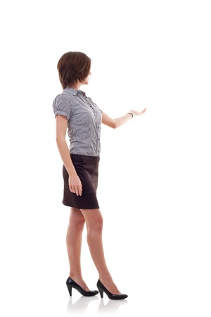 Business woman presenting something imaginary over white Stock Photo - 9734048