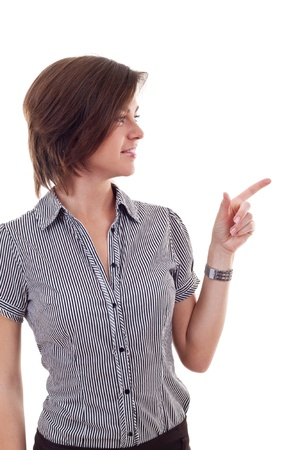 whitw: Business woman points finger at something, isolated on whitw Stock Photo