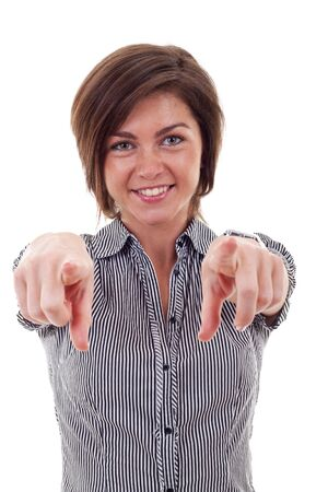 woman pointing: young beautiful business woman pointing on you on white background Stock Photo