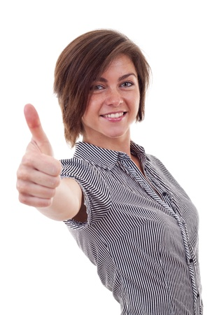 Young business woman making thumb up gesture. Isolated over white background  Stock Photo - 9734307