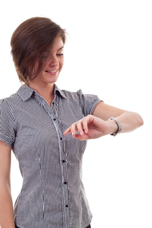 timekeeping: young business woman looking at the time over white  Stock Photo