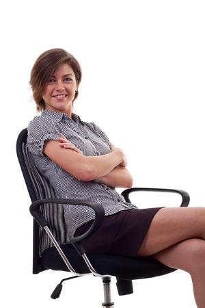 business woman sitting on office chair, over white Stock Photo - 9734119