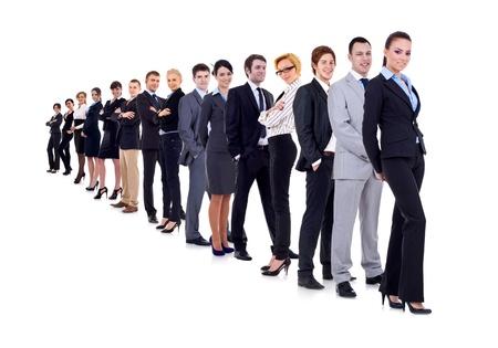 grote groep mensen: zakenvrouw en haar team geïsoleerd op een witte achtergrond  Stockfoto