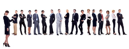business leader presenting her successful business team Stock Photo - 9838728