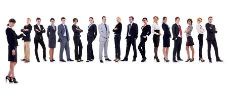 supervisores: l�der de negocios presentar su equipo de negocios  Foto de archivo