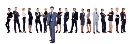 team leader: Business team and their leader. The leader is making a welcome gesture. Isolated