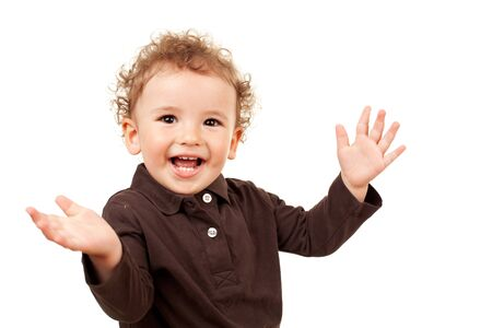 Smiling little boy with his arms open, isolated photo