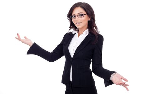 whit: Young business woman smiling whit her arms open.  Stock Photo
