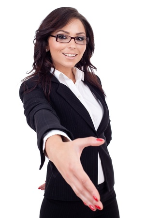 Young happy business woman giving hand for handshake, isolated on white  Stock Photo - 9971917