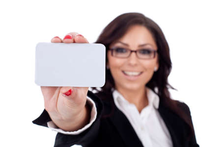 Attractive Business woman Closeup - presenting her business card Stock Photo - 9971854