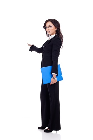 surveyor: Business woman presenting and holding a clipboard Stock Photo