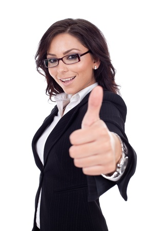 donna ricca: Donna felice business di successo. Isolato su sfondo bianco